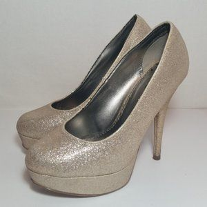 Brash Gold Glitter platform pumps 7 WIDE